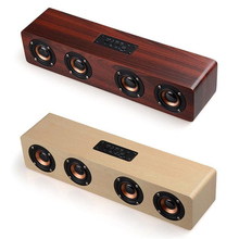 Haptime Hi-fi Bluetooth Speaker Sound System 12W USB Charging Wood Speaker Portable Wireless Party Speaker for Home Outdoor