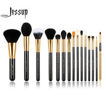 Jessup Pro 15 pcs Maquillage Pinceaux Poudre Fondation Fard À Paupières Eyeliner Pinceau À Lèvres Outil Noir et Or