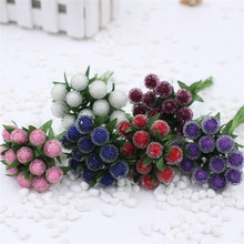 cheap 12pcs Small Berries Artificial Flower Red Cherry Stamen Pearlized Wedding simulation glass pomegranate Decoration