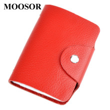 26 Slots Genuine Leather Women Men ID Card Holder Card Wallet Purse Credit Card Business Card Holder Protector Organizer DC29