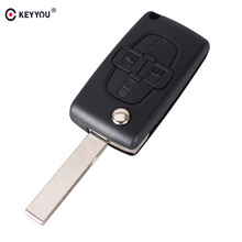 KEYYOU 4 Buttons Flip Floding Remote Key Fob Case Shell Fob For Peugeot 1007 For Citroen C8 Uncut Blade With Groove CE0523(China)