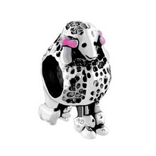 Fit Pandora charm bracelets Rose Pink Bowknot Pet 3 D Poodle Puppy Dog Animal Beads Charms Bracelets Beads for jewelry making(China)