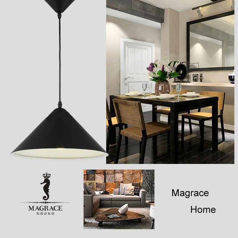 Minimalism Cone Modern Pendant Lights For Dining  Room White/Black/Yellow Color Aluminum Hanging Lamp Fixtures E27 Droplight<br>