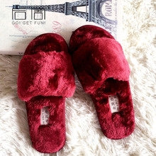 QWEEK Women Home Slippers Warm Indoor Fur Slides Winter Cute Ladies Room Adult Slippers Cute Funny Flats Velvet House Shoes(China)