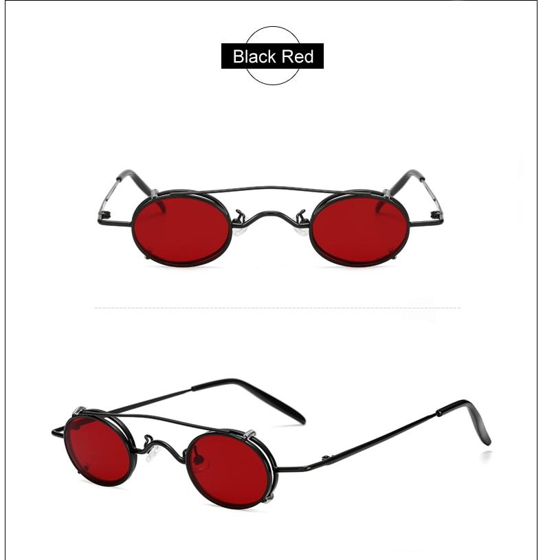 Ralferty Vintage Small Clip On Sunglasses Women Men Retro Mini Steampunk Goggles Punk Sun Glasses UV400 Eyewear Accessories B012 7