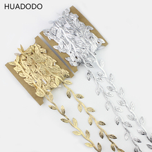 HUADODO 6meters Gold sliver Silk Leaves Rattan Artificial Flowers vine leaf For Scrapbooking Home Wedding wreaths Decoration