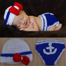 Baby Crochet Navy Sailor Costume Set Knitted Infant Newborn Photo Photography Prop Hat with Anchor Diaper Cover(China)