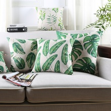 Rain Forest Cushion Covers Green Plant Pillow Covers Good Quality Linen Cotton Pillow Case Bedroom Sofa Decoration Gift