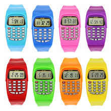 LED Calculator Watch Electronic Digital Chronograph Computer Kids Child Boys Girls Rubber Wrist Watches(China)