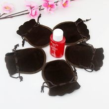 Wholesale 7x9cm Drawstring Coffee Velvet Bags Pouches Jewelry Christmas Valentines Gift Bags 100pcs/lot Free Shipping(China)