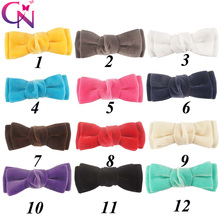 "36 Pcs/lot 3.5"" Solid Velvet Bow With Ribbon Covered Clip For Kids Girls Handmade Boutique Layers Hair Accessories"