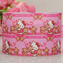 "50 yards 1 "" friendship hello kitty and bear pattern print grosgrain tape cartoon ribbon hair bow free shipping"