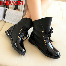 HEVXM 2017 New Fashion Women Boots Motorcycle Bota Autumn Winter Boots Leather Boots Martin Rain Boots Free Shipping