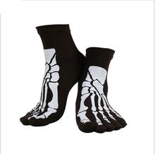 10 colors Punk Rock Men's 3D print terror skeleton toe socks Hip Hop scary skull five finger odd sox bone male  short socks