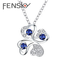 Fensky Shiny Silver Color Lucky Clover Pendants Necklaces Women Blue/Purple Zircon Necklace Elegant Jewelry Gift For Girlfriend