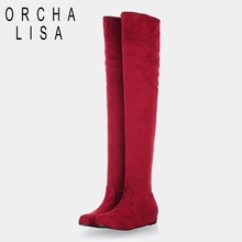 ORCHA LISA Women Boots 2016 Autumn Winter Ladies Fashion Flat Bottom Boots Shoes Over The Knee Thigh High Suede Long Boots Brand