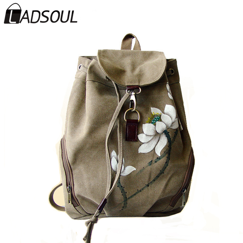 LADSOUL Chinese Style canvas women backpack Casual landscape printing high quality  versatile string concise girl bags A3528/h<br>