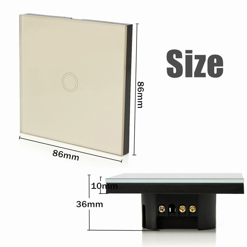 Sale Safety 1 Way 1 Gang AC110V-240V Crystal Glass Panel Smart Touch Light Wall Switch Remote Controller<br><br>Aliexpress