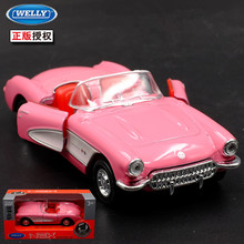 1:36 11.5cm new Welly 1957 Corvette sweet pink bubble car alloy vehicle model pull back cool boy birthday toy
