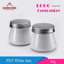 Sedorate 50 pcs/Lot PET White Jars For Cosmetic 80ML Facial Mask Plastic Containers With Aluminium Lid Food Storage Jars XM001(China)