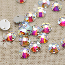 8mm 100pcs Round Crystal AB Silver Base Sew On Rhinestone Beads, Sew On Stones  buttons for Garment Decoration DIY Dress Stones