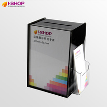 Acrylic Suggestion Box DL+A4 Display Comment Box Donation Box Acrylic Bin With Brochure Holder Smoke YX2-10(China)
