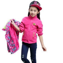 Child Coat Pattern Girls Jacket Kids Windbreaker Children Rain Suit Fleece Liner Waterproof Windproof Pink Hooded Sport Jacket