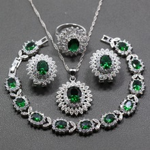 A Nice Flower Green Zircon White Crystal 925 Sterling Silver 4PCS Jewelry Set Earring Pendant Necklace Ring For Women