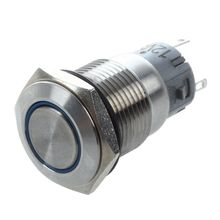 Silver Metal Stainless Steel Blue LED Illuminated Latching Pushbutton Switch 16mm