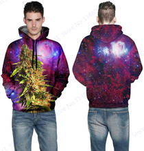 Purple Space Galaxy Hooded Sweater Hip-Hop Green Trees Sweatshirts With Pockets Autumn Mens Skateboard Hoodies Coat Long Sleeves(China)