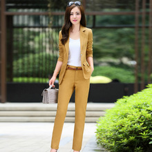 Buy New arrival 2017 spring fashion solid color yellow full suits women office lady dress slim fit suis belt blazer+pants TXF5 for $39.79 in AliExpress store