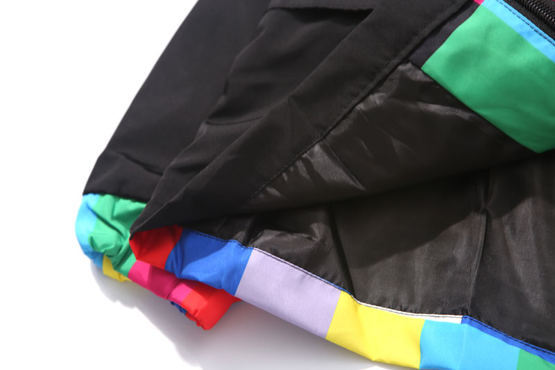 Multi Color Block Patchwork Hooded Zip Up Jacket 5