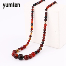 Yumten Nature Agate Beads Necklace Fashion Stone Jewelry Women Short Necklace Harajuku Gemstone Collares De Piedras Naturales(China)