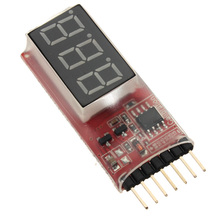 2Pcs/lot 2S-6S RC helicopter digital voltmeter for lipo batteries LED Displays(China)