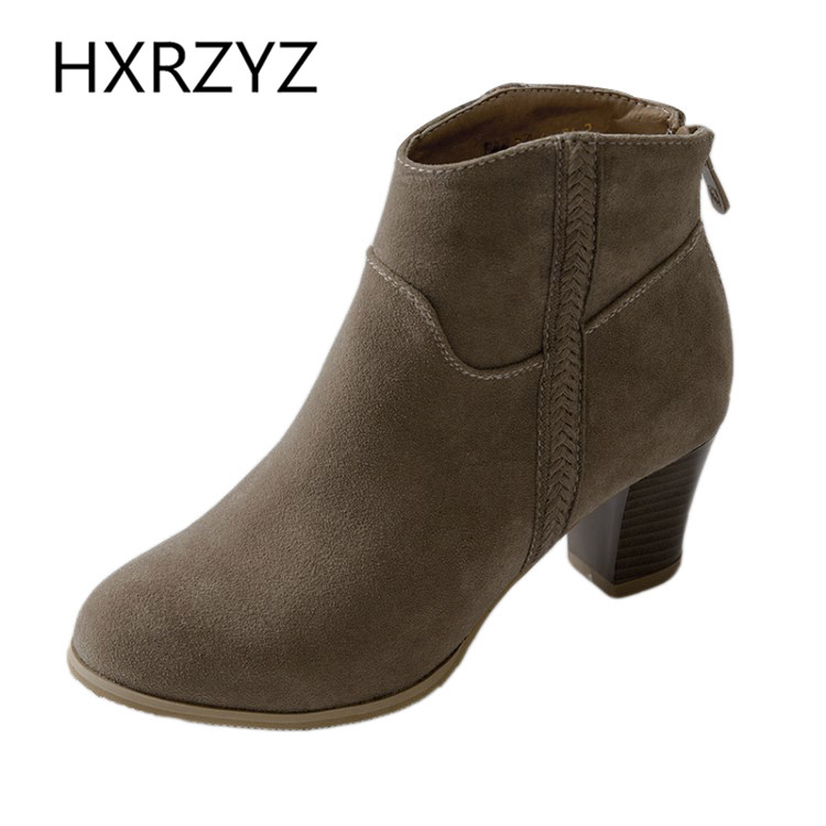Plus size 40-43 new women knight boot cow suede martin boots thick heel back zipper autumn winter lady ankle boots casual shoes<br><br>Aliexpress