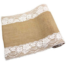 Lace Natural Burlap Jute Hessian Table Runner Cloth Wedding 2.75m x30cm New(China)