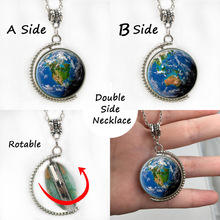 Newest Double sides rotatable world map pendant necklace vintage USA map american men women necklaces holder jewelry