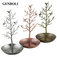 GENBOLI Bird Tree Earrings Ring Jewelry Stand Etagere Showcase Jewelry Watch Display Organizer Holder Show Rack Packaging(China)