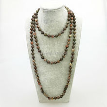 ST0335 New Aarrivl Yoga Long Necklace 60 inches Women Knotted Necklace High Quality Natural Ocean Jasper Necklace