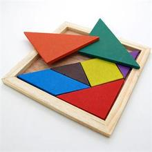 High Quality Delicate Children Mental Development Tangram Educational Wooden Jigsaw Puzzle Toys for Kids(China)