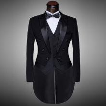 Male Black Magician Tuxedo Suits Formal Stage Wear Dress Costumes Men's Clothing Set Costume Performance Show Prom Blazer & Suit
