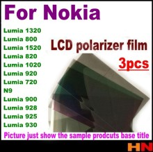 3pcs for Nokia Lumia 1320 800 1520 820 1020 920 720 N9 900 928 925 930 LCD polarizer film polarizing film polarize film