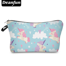 Deanfun Cute Cosmetic Bags 3D Printing Unicorn Character Polyester Necessaries for Girls Makeup Storage 50981