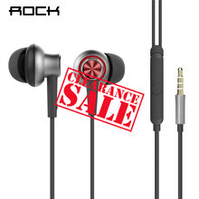 Stereo Earphone Mic, ROCK Y5 Ear Earphones HIFI Bass 3.5mm Headset Earbuds Microphone iPhone Xiaomi Sony - Rock Official Store store