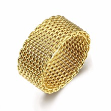 Golden big gridding Charms High quality GOLD colour rings anillos for woman man gift free shipping