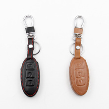 Car leather remote control car key cover for Nissan Tiida Livina X-Trail T31 T32 Qashqai Teana three button dust collector