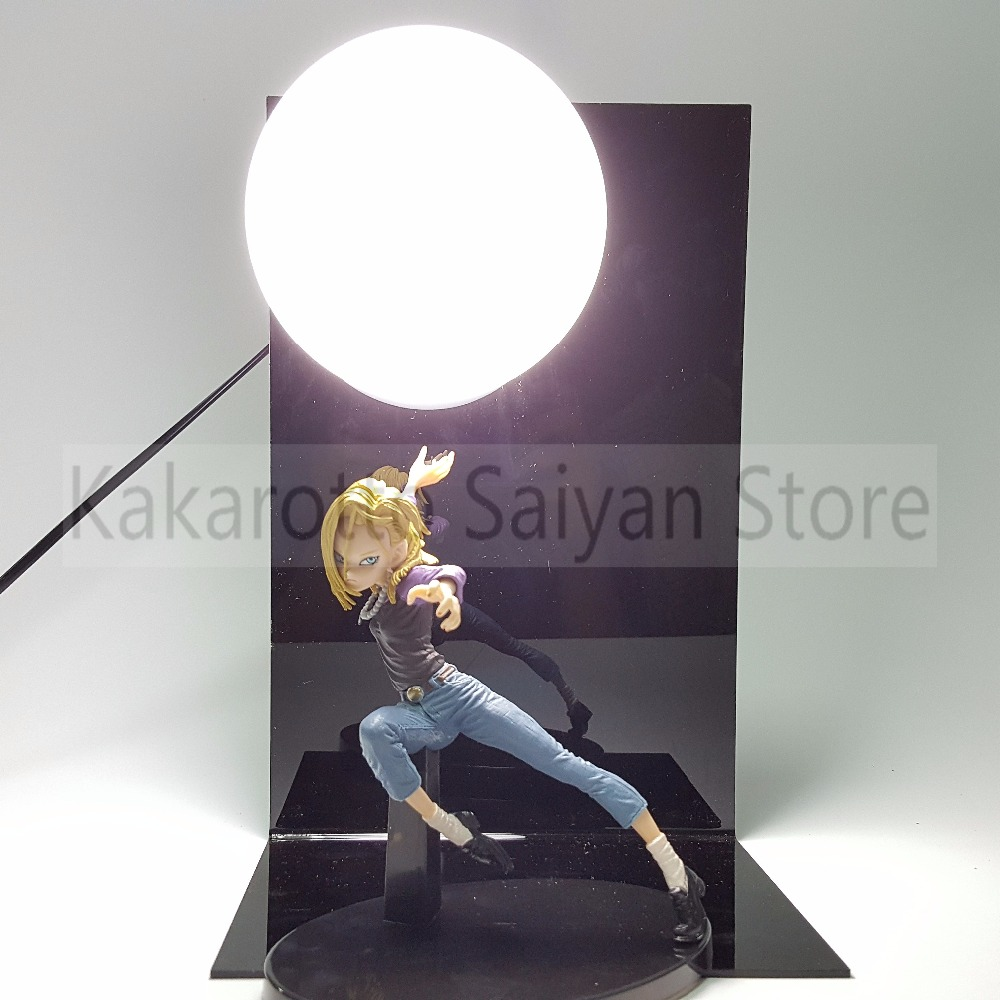 Dragon Ball Z Android 18 Action Figures DIY Genki damaSpirit Bomb Anime Draong Ball GT Esferas Del Dragon  +Bulb+Base<br>