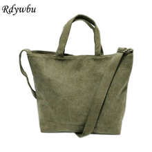Rdywbu SIMPLE VINTAGE CANVAS SHOULDER BAG -Hot Korea Women's Casual Plus Size Travel Shopping Crossbody Tote Handbag Bolsos B410