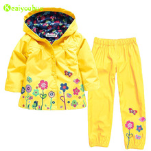 KEAIYOUHUO Girls Clothes Set 2017 Autumn Winter Kids Clothes Girls Sets Raincoat Jackets+Pant Girls Sport Suit Children Clothing(China)