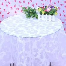 Waterproof disposable tablecloth white peony snowflake with thick plastic round table cloth